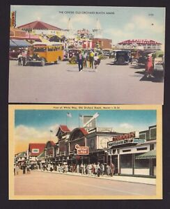 Lot of 2 Old Vintage Postcards Old Orchard Beach Maine ME THE CENTER White Way