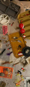 Fishing Lure Lot. Vintage Spinners Flies. Panther martin Grayling Trout