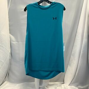 Under Armour Mens Sleeveless Loose Fit Velocity Muscle Aqua Blue Tank Top Size L $22.99