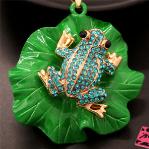 Betsey Johnson Blue Crystal Cute Frog Lotus Leaf Pendant Chain Necklace