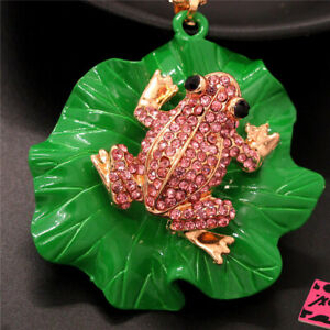 Betsey Johnson Pink Crystal Cute Frog Lotus Leaf Pendant Chain Necklace