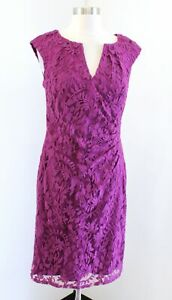 Adrianna Papell Pink Purple Mesh Lace Embroidered Sheath Dress Cocktail Size 6 $34.99