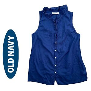 Old Navy Womens Blue Ruffle Sleeveless Top XS Button Front $12.50