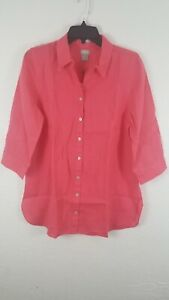 Chicos Womens Sz 8 Fresh Chic Linen Tunic Button Up Pink NWT Top Blouse Collared $29.98