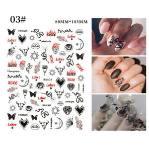 Snake Butterfly Design 3D Nail Stickers UV Gel Decoration Tips DIY Decals