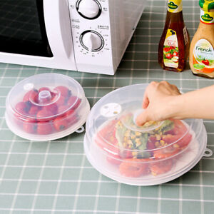 Plastic Microwave Plate Cover Clear Steam Vent Splatter Lid Food Dish Covers S L