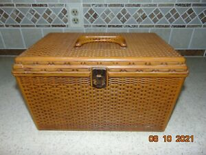 VTG Wilson Mfg Wil Hold Large Sewing Case Tray Basket Weave 9quot; X 14quot; $17.50