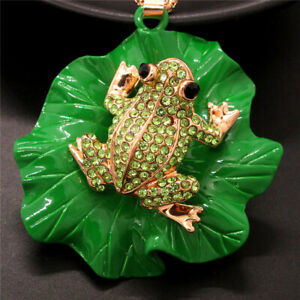 Betsey Johnson Crystal Cute Green Frog Lotus Leaf Pendant Chain Necklace