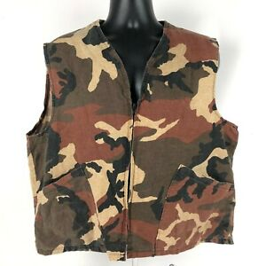 Vintage Clarkfield outdoors Full zip Camo Vest size XL USA Made