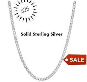 REAL Italian Sterling Silver Mariner Link Chain Necklace $8.99