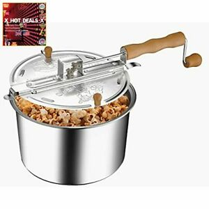 NEW GREAT NORTHERN POPCORN COMPANY 83 DT5676 Stovetop Spinner 6 Quart Silver