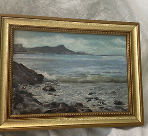 ORIGINAL OIL PAINTING Seascape Beach Ocean Signed Dated Canvas $99.95