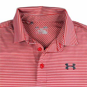UNDER ARMOUR POLO SHIRT Mens Size Small Red Gray Stripes golf polo Loose Fit $23.98