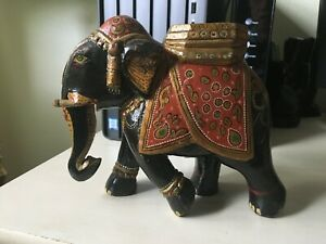 Carved Elephant Hand Painted India $24.95
