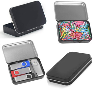 4 Pack Metal Rectangular Hinged Tin Boxes Containers Portable Box Small Storage $8.95
