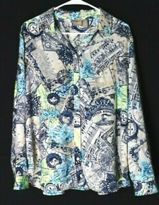 Chico#x27;s womens long sleeve multicolor button up blouse travel pattern size 3 $24.95