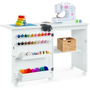 Folding Sewing Table Wheeled Multipurpose Craft Station With Side Table Multi $160.71