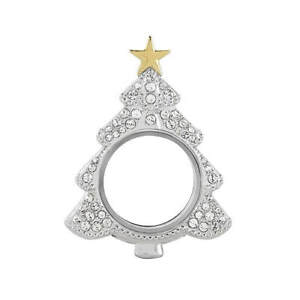 SILVER PAVÉ CRYSTAL CLASSIC CHRISTMAS TREE LOCKET LK1039 SHIPPING INCLUDED C $48.99