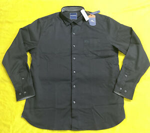 Tommy Bahama New Mens Tall Oasis Twill Solid Trim Fit Shirt black long sleeves $54.95