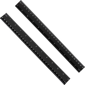 2 Pack Plastic Ruler Straight Ruler Measuring Tool 12 Inches Black 30.8 x 3 x $6.75