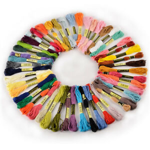 50 Skein Colourful Cross Stitch Embroidery Cotton Thread Floss Craft Bulk Sewing $13.29