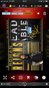 2021 WWE Topps Slam Digital In The Name Roman Reigns Signature Relic Legendary $35.00