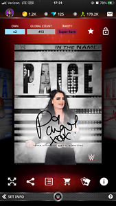 2021 WWE Topps Slam Digital In The Name Paige Brand Color Signature $3.50
