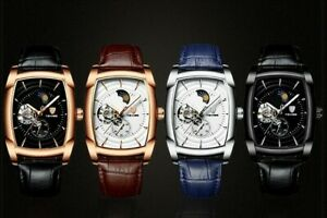 Mens Watch Classic Mechanical Leather Strap Rectangular Relojes Hombre $33.99