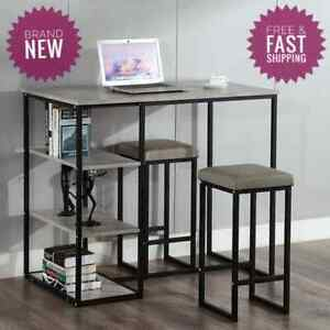 3 Piece Kitchen Dining Set metal home furniture breakfast room table chairs NEW
