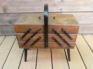 Vintage Finger Joint Accordion Style Sewing Basket Box with Legs $39.00