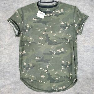 Hollister Top Womens Extra Small Curved Hem Tee Green Camouflage Short Sleeve $9.99