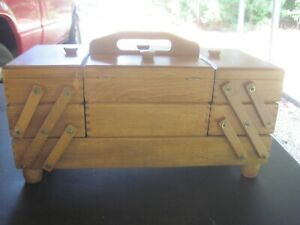 Vintage Wooden Accordian Style Fold Out Expandable Sewing Box Made In Romania $35.00
