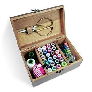 Wooden Sewing Kit Sewing Boxes Organizer with Accessories Wooden Sewing Kits $25.89