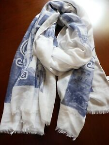 Roma Italy Scarf Shawl 72quot;x30quot; Small Fringe City Travel pattern Light Cotton $20.00