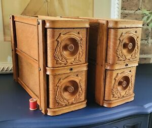 Two Sets of Beautiful Antique Singer Treadle Sewing Machine Cabinet Drawers $85.00