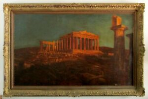 1870#x27;s Carved Frame Large Oil Painting The Parthenon attr: Frederic Edwin Church $12000.00