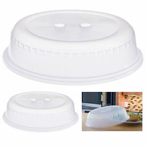 2 Pc Microwave Plate Covers Clear Plastic Vent Steam Splatter Lid Food Dish 10