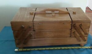Vintage Wooden Accordian Style Fold Out Expandable Sewing Box Made In Romania $41.00