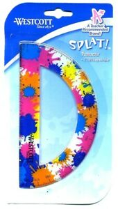 NEW Westcott Splat Soft Touch Protractor 6 Inch 180 degree Ruler BLUE PINK ORANG $4.99