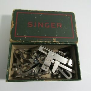Antique Singer Treadle Sewing Machine Attachments in Singer Box 1889 USA Made $45.00