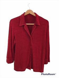 Softwear by Mark Singer Large Button Up Shirt Red Acetate Long Sleeve Collared $25.99