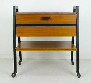 extendable 1960s mid century SEWING CART sewing box walnut and black wood $450.00
