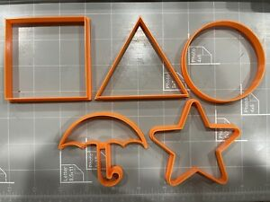 Squid Game Cookie Cutters Set of 5 Umbrella Square Triangle Circle Star