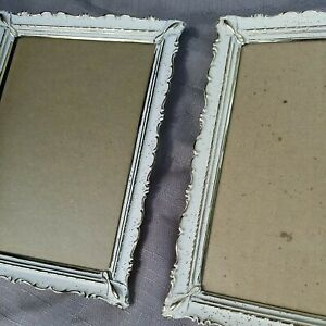 2Vtg Ornate Gold White Shabby Chic Mid Century old Metal Picture Photo Frame5x7quot; $19.88