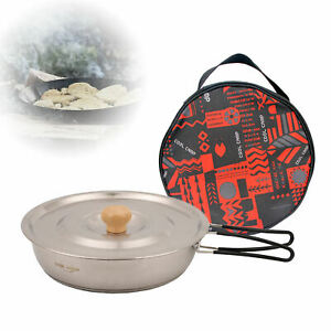 Small Camping Frying Pot Pan Stainless Steel with Folding Handle for Picnic