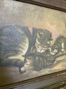 Antique Oil Painting Mama Cat amp; Kittens Antique Frame $315.00
