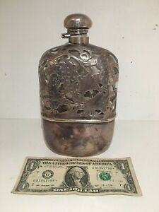 Antique GLASS WITH STERLING SILVER OVERLAY FLASK WITH Grape Leafs .5 L $299.00