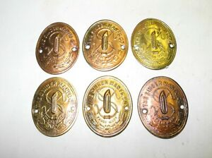 LOT OF 6 VINTAGE SINGER SEWING MACHINE BRASS FINISH LOGO MEDALLIONS UNTOUCHED $29.95