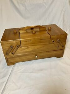 Vintage Wooden Accordian Style Fold Out Expandable Sewing Box $49.99