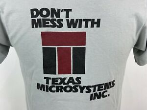 Vintage Dont Mess With Texas Microsystems T Shirt M Tight Fit Gray Screen Stars $24.99
